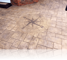 Compass Feature in Biscuit with Brown Stain Etch and Matt Finish