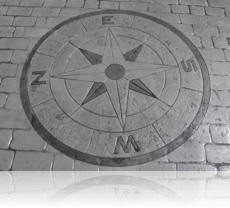 Compass Feature in Country Cobble Drive Basalt Grey