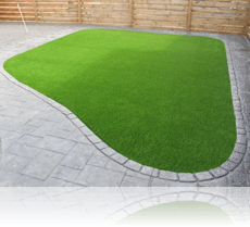 Ashlar Slate Single Cobble Edge with 3g Astro Turf