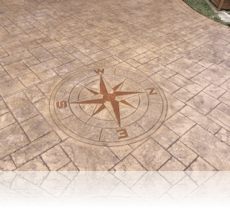 Compass Feature in Biscuit with Tan Stain Etch