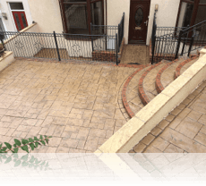 Ashlar Slate path and steps in Biscuit with Mahogany